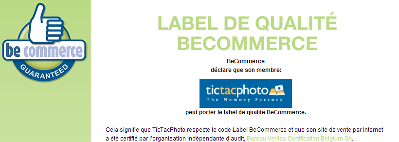 Label becommerce reçu par TicTacPhoto