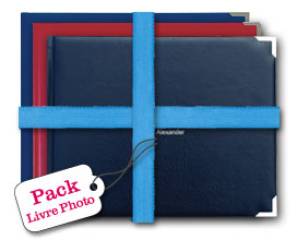Livres photo classique, couverture cuir rouge, bleu et noir