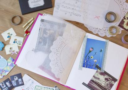 cr er un album photo traditionnel la main en ligne ou. Black Bedroom Furniture Sets. Home Design Ideas